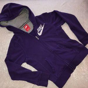 Girl's L full zip purple hoodie with sequin swoosh